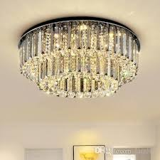 dimmable modern led round crystal chandeliers high end clear k9 crystals surface mounted chandelier for living room bedroom hotel room