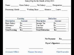 Salary Slip Format Doc - Youtube