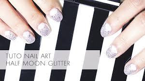 Nail Art - Half Moon Glitter - YouTube