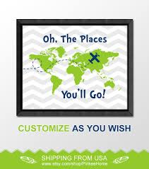 dr seuss framed es bedroom decor baby bedding set oh the places you ll go blue