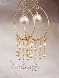 gold lovely pearl chandelier earrings bridal chandelier earrings pearl drop gold earrings wire wrapped unique