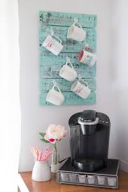 this coffee cup holder is a simple pretty diy project to organize your coffee mugs