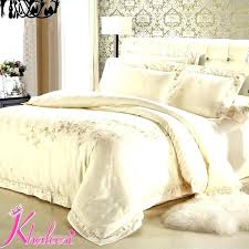 ivory king duvet cover luxury satin bedding sets silver white jacquard cotton comforter queen california
