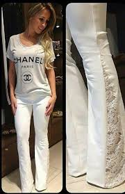 using boot leg pants sew lace into pant s legs and create lacey bell bottoms