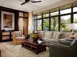 Patterned Chairs Living Room Dark Wood Side Table Family Room Gray Sofa Contemporary Asian