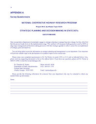 appendix a survey questionnaire strategic planning and page 54