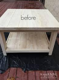 sanding ikea rekarne table makeover somuchbetterwithage com