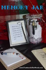 an acrylic jar with a cute notepad to write a memory to place inside for the