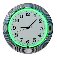 neon green chrome wall clock