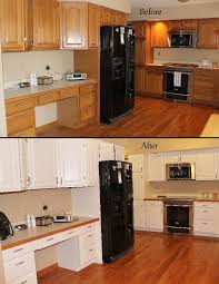 oak cabinets painted whiteBefore  After Cabinet Painting  Medium Oak cabinets hand painted
