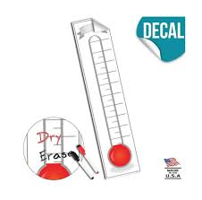 Fundraising Thermometer Goal Setting Chart Dry Erase Reusable Fundraiser Tr