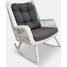 paros synthetic rattan rocking chair in white