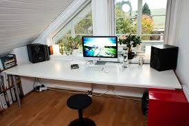 work desk ideas white office. Furniture, Small Modern Home Attic Office Design With Smart Organization Furniture Ideas Sloping Ceiling Work Desk White S