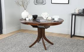 hudson round dark wood extending dining table and 4 chairs set bewley oatmeal only 399 99 furniture choice