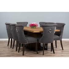 2m reclaimed teak urban fusion pedestal dining table with eight dove grey windsor ring back dining