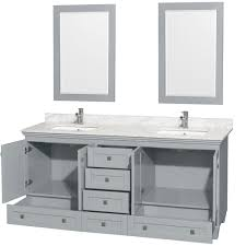 Accmilan 72 inch Double Sink Bathroom Vanity in Grey Finish, White ...