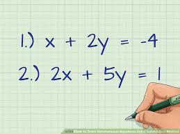 image titled solve simultaneous equations using substitution method step 1