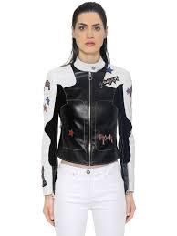 versace stars patches leather biker jacket black white women clothing jackets versace dresses plus size leading retailer