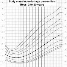 Body Mass Index Chart For Kids Body Mass Index For Age Percentiles Boys 2 To 20 Years
