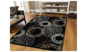 contemporary area rug 8x11 flower circle ribbon pattern dining living groupon