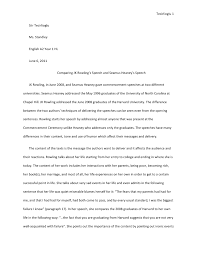 commemorative speech examples sample speech essay speech sample comparing jk rowling s speech and seamus heaney s speech