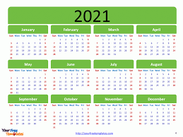 By using canva's free templates, you just have to pick which type of calendar you prefer and start customizing. Printable Calendar 2021 Template Free Powerpoint Template