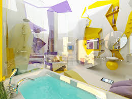Modern Purple Yellow White Bathroom Design Interior Design Ideas - Yellow and white bathroom