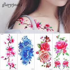 Glaryyears 5 штлот реалистичные цветок вишни татуировки цветной рисование временные