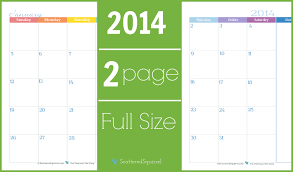 Monthly Calendar 2013 2014 Calendar Two Page Monthly Scattered Squirrel