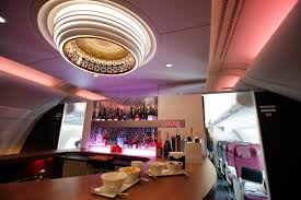 Interior view of the lounge bar in the second floor deck of the Airbus A380  of