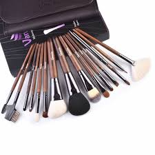 details about 15 piece high end blackwood makeup brush cosmetic set with pretty pu leather bag