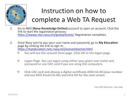 Nko Certificate Ppt Instruction On How To Complete A Web Ta Request Powerpoint