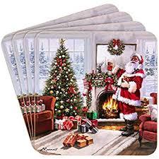 <b>Set of 4 Christmas</b> Santa Coasters: Amazon.co.uk: Kitchen & Home