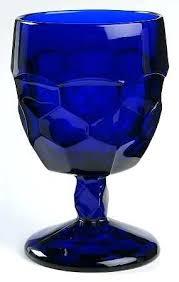 viking cobalt blue water goblet goblets vintage libbey glasses