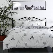 minimalistic black and white cartoon tree pattern bedding set cartoon quality duvet cover bed set beddings queen size king duvet covers