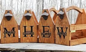 wooden beer tote personalized beer