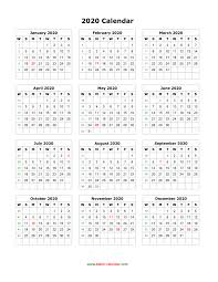 Free Year Calendar 2020 Download Blank Calendar 2020 12 Months On One Page Vertical
