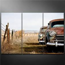 canvas print wall art painting for home decor vine cars abandoned and rusting away in rural wyoming 3 pieces panel paintings modern giclee stretched and