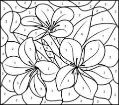 Small Picture color by number coloring pages Tropical Flower Printable Color
