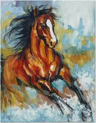 signed hand painted impressionistic horse oil painting canvas coa included
