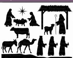 nativity silhouette printable. Delighful Silhouette Christmas Nativity Silhouettes Digital Art Set Clipart Commercial Use Clip  INSTANT Download To Silhouette Printable V