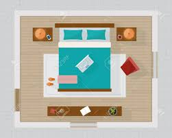 overhead bedroom furniture. Bedroom With Furniture Overhead Top View. Apartment Plan. Flat Style Vector Illustration. Stock R