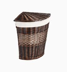 Dark Wicker Corner Hamper Laundry Bin