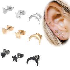<b>Heart Personality</b> Moon Star Earrings <b>Set</b> Stud Earrings | Shopee ...
