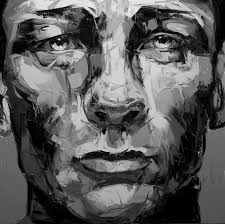 black and white painting portraits daniel craig portrait shown in grayscale to evaluate value of