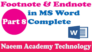 Footnote And Endnote In Ms Word In Urdu Hindi Tutorial