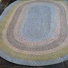 rustic 100 cotton green with blue oval braided rug