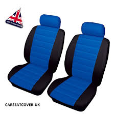 suzuki carry front pair of blue black leather look car seat covers