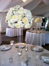 ... Silver Centerpiece Vases : Inspiring Wedding Party Room Design With  White Flowers On Glass Vase Combine ...