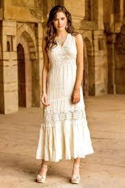 Lace Trim Long Ecru Cotton Dress Flower Princess Novica